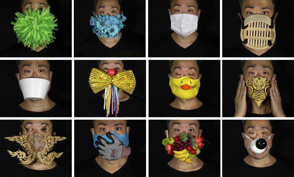 This combination of photos shows Edmond Kok, a Hong Kong theater costume designer and actor, wearing a variety of face masks he made to protect agains...
