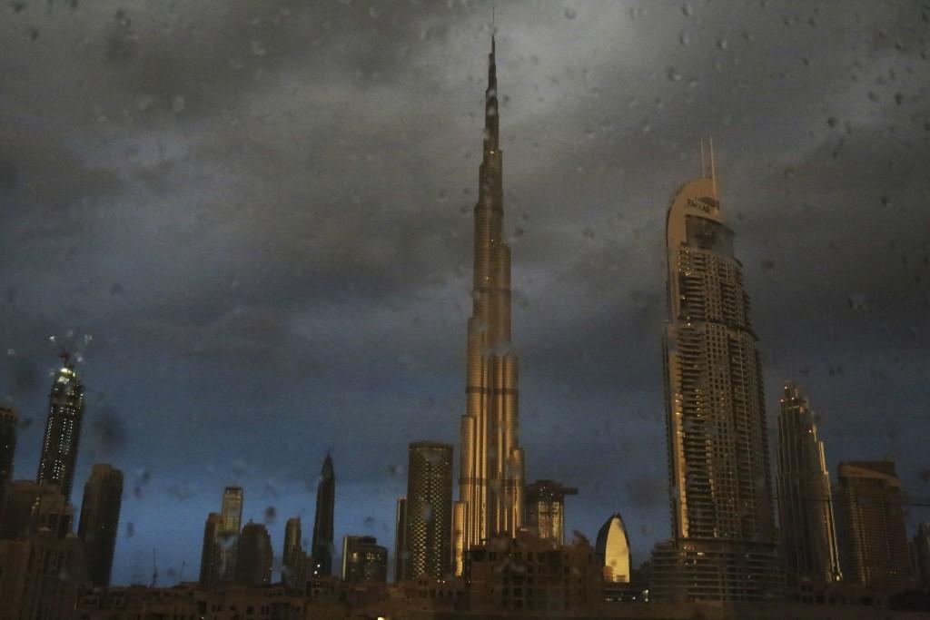 The Burj Khalifa, the world's tallest building, during a rain shower in Dubai, United Arab Emirates.