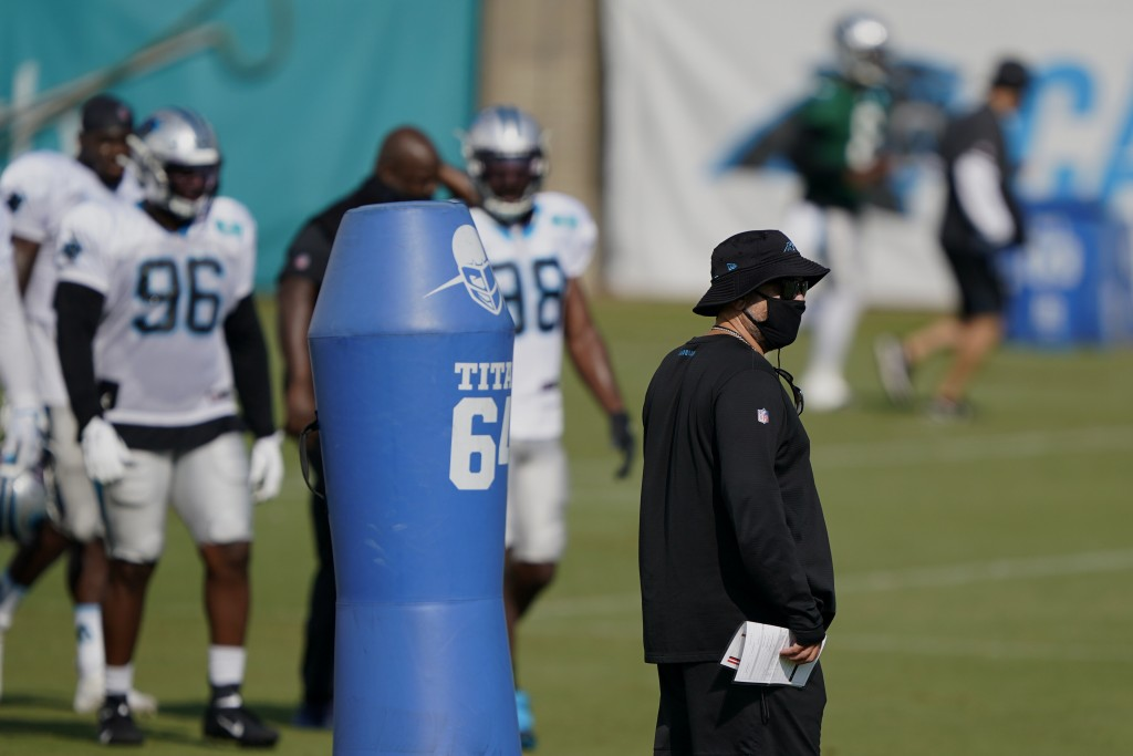 Carolina Panthers head coach Matt Rhule watches during an NFL football camp practice Monday, Aug. 17, 2020, in Charlotte, N.C. (AP Photo/Chris Carlson...