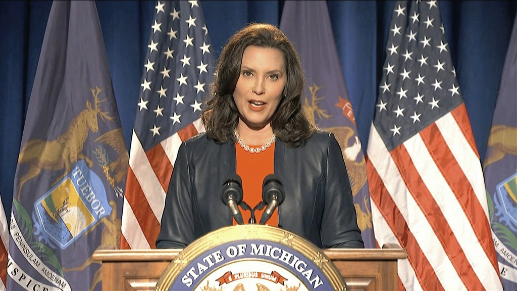 In this image from video, Michigan Gov. Gretchen Whitmer speaks during the first night of the Democratic National Convention on Monday, Aug. 17, 2020....