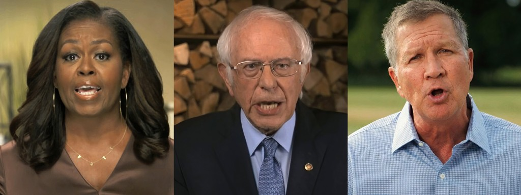 In this combination image from video, former first lady Michelle Obama, Sen. Bernie Sanders, I-Vt., and former Republican Ohio Gov. John Kasich speak ...
