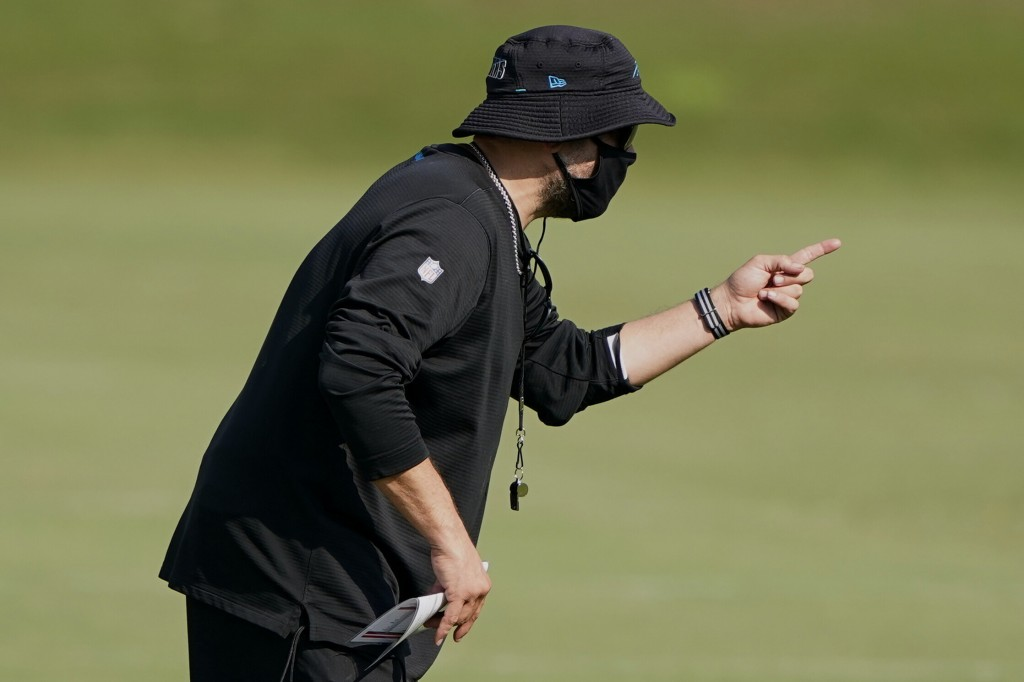 Carolina Panthers head coach Matt Rhule gestures during an NFL football camp practice Monday, Aug. 17, 2020, in Charlotte, N.C. (AP Photo/Chris Carlso...