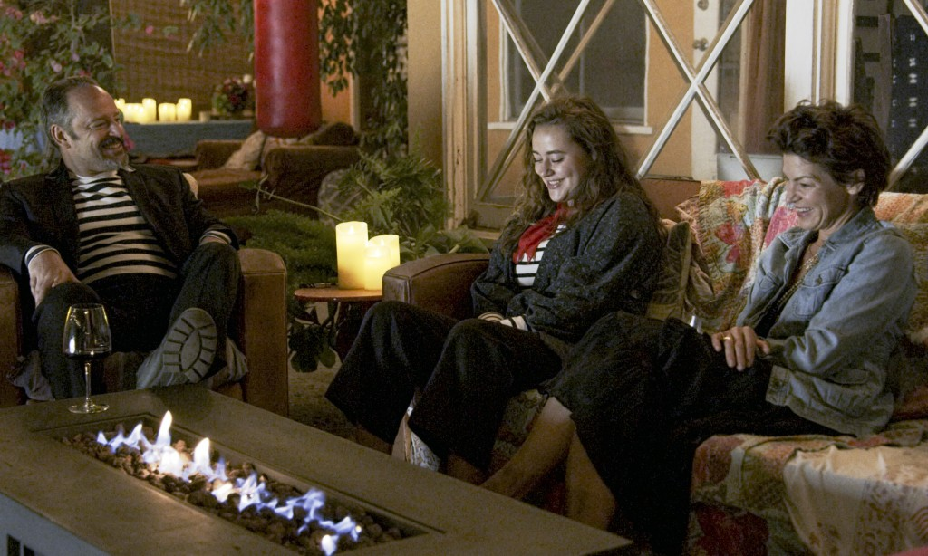 """This image released by Freeform shows Gil Bellows, from left, Ava Bellows and Rya Kihlstedt in a scene from """"Love in the Time of Corona,"""" a two-part s..."""