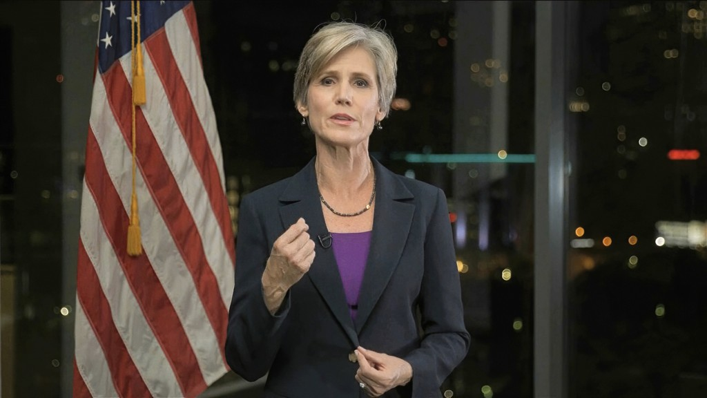 In this image from video, former Acting Attorney General Sally Yates speaks during the second night of the Democratic National Convention on Tuesday, ...