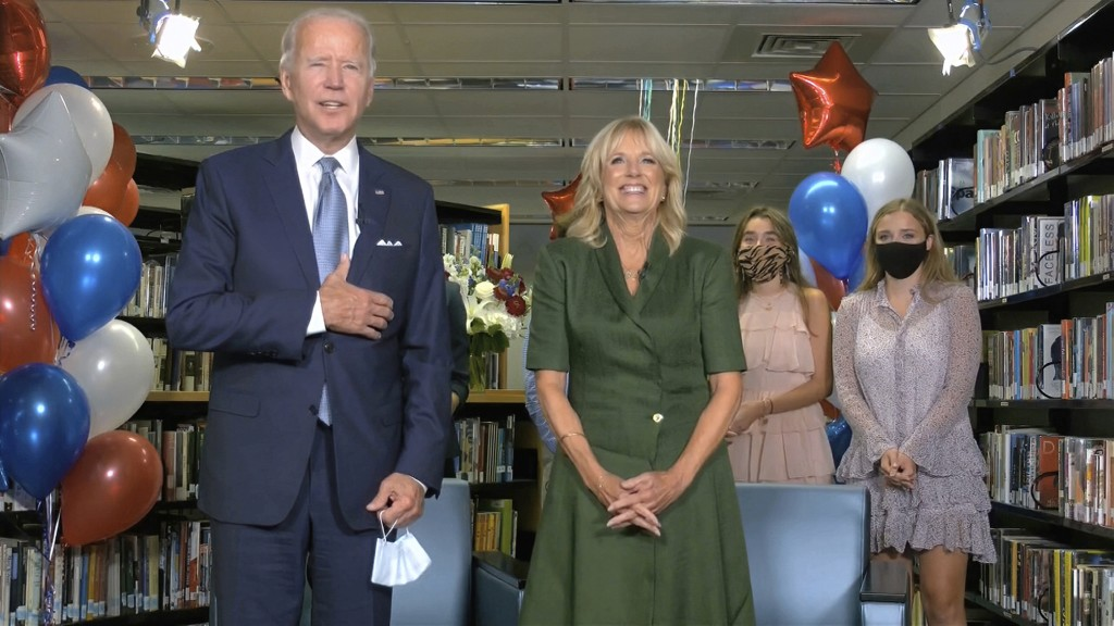 In this image from video, Democratic presidential candidate former Vice President Joe Biden, his wife Jill Biden, and members of the Biden family, cel...