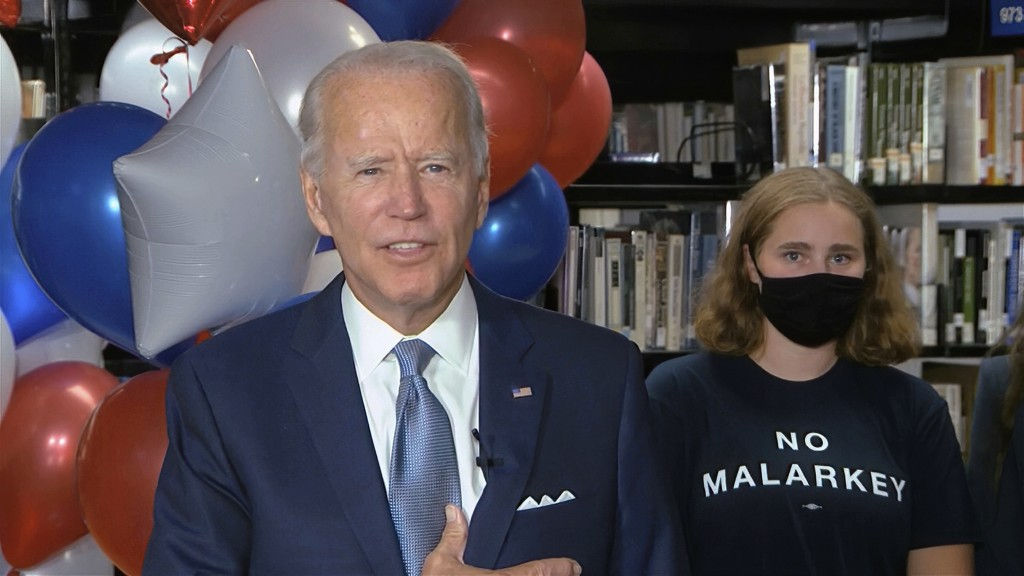 In this image from video, Democratic presidential candidate former Vice President Joe Biden, speaks after the roll call vote during the second night o...