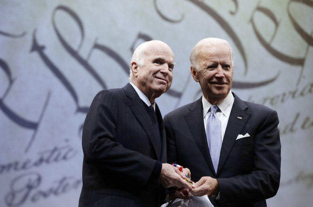 FILE - In this Oct. 16, 2017, file photo Sen. John McCain, R-Ariz., receives the Liberty Medal from Chair of the National Constitution Center's Board ...