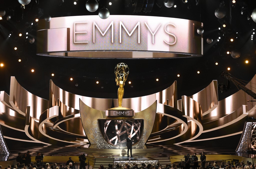 FILE - This Sept. 18, 2016 file photo shows the main stage during the 68th Primetime Emmy Awards in Los Angeles. The 72nd Emmy Awards awards will be c...