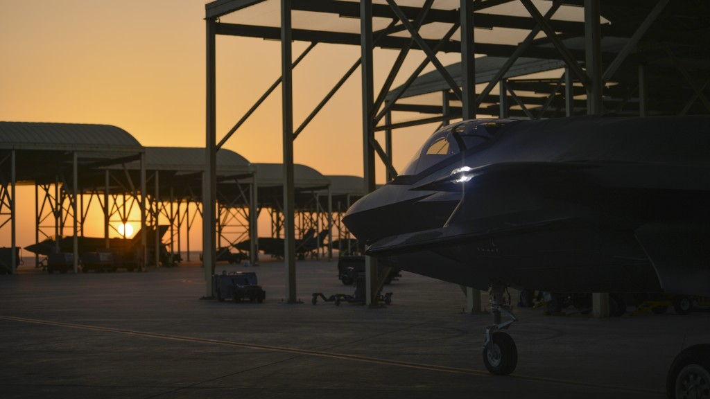 In this April 24, 2019, photo released by the U.S. Air Force, an F-35A Lightning II fighter jet prepares to taxi and take off from Al-Dhafra Air Base ...