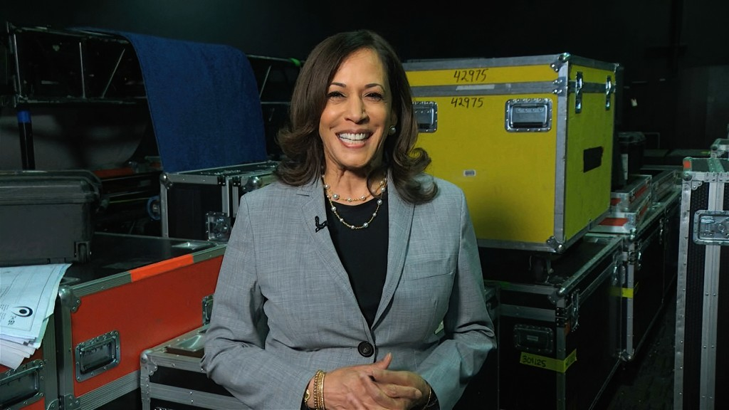 In this image from video, Democratic vice presidential candidate Sen. Kamala Harris, D-Calif., speaks about voting during the third night of the Democ...