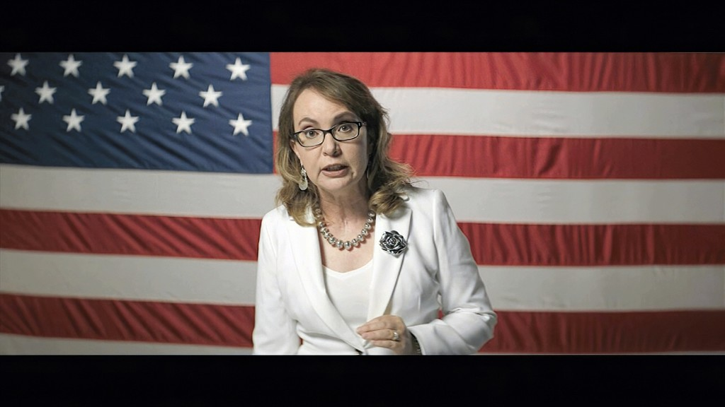 In this image from video, former Rep. Gabrielle Giffords, D-Ariz., speaks during the third night of the Democratic National Convention on Wednesday, A...