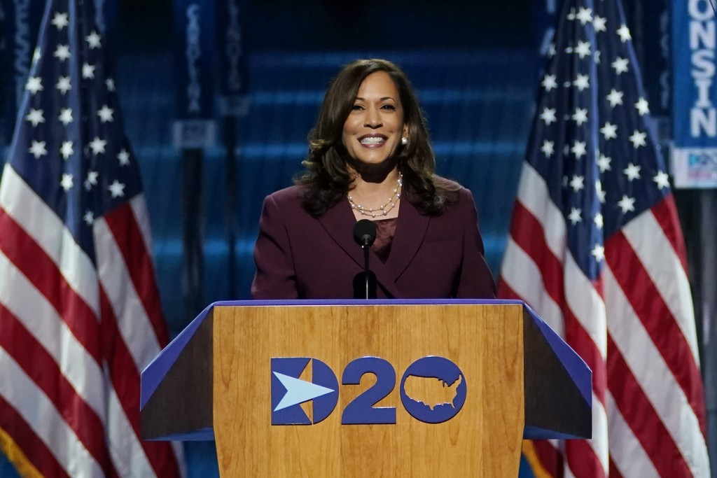 Democratic Vice Presidential candidate Sen. Kamala Harris, D-Calif., speaks during the third day of the Democratic National Convention, Wednesday, Aug...