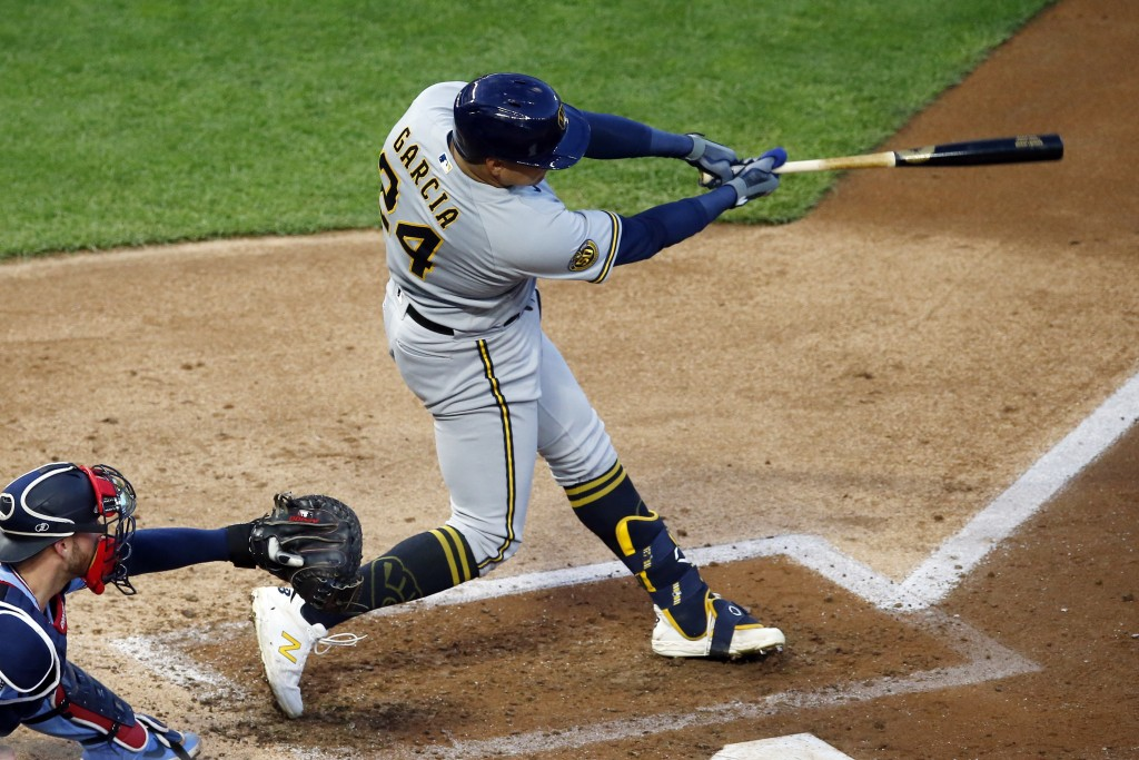 Milwaukee Brewers' Avisail Garcia hits an RBI double in the third inning of a baseball game Wednesday, Aug. 19, 2020, in Minneapolis. (AP Photo/Jim Mo...