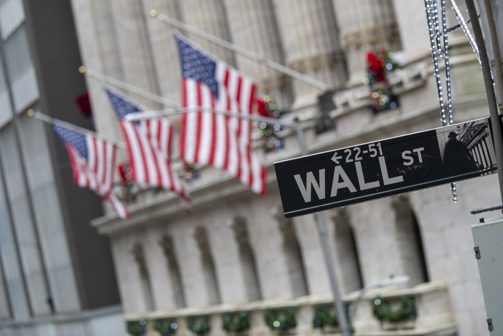 FILE - In this Jan. 3, 2020 file photo, the Wall St. street sign is framed by American flags flying outside the New York Stock Exchange in New York.  ...