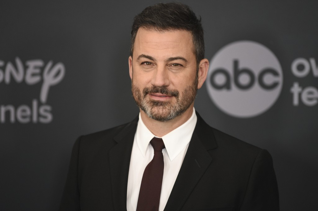 FILE - This May 14, 2019 file photo shows Jimmy Kimmel at the Walt Disney Television 2019 upfront in New York. Kimmel will host the 72nd Emmy Awards a...