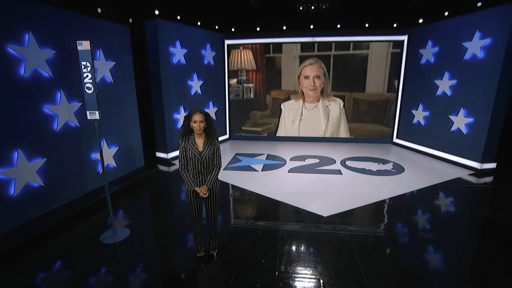 In this image from video, former Secretary of State Hillary Clinton speaks as Kerry Washington, serving as moderator, listens during the third night o...
