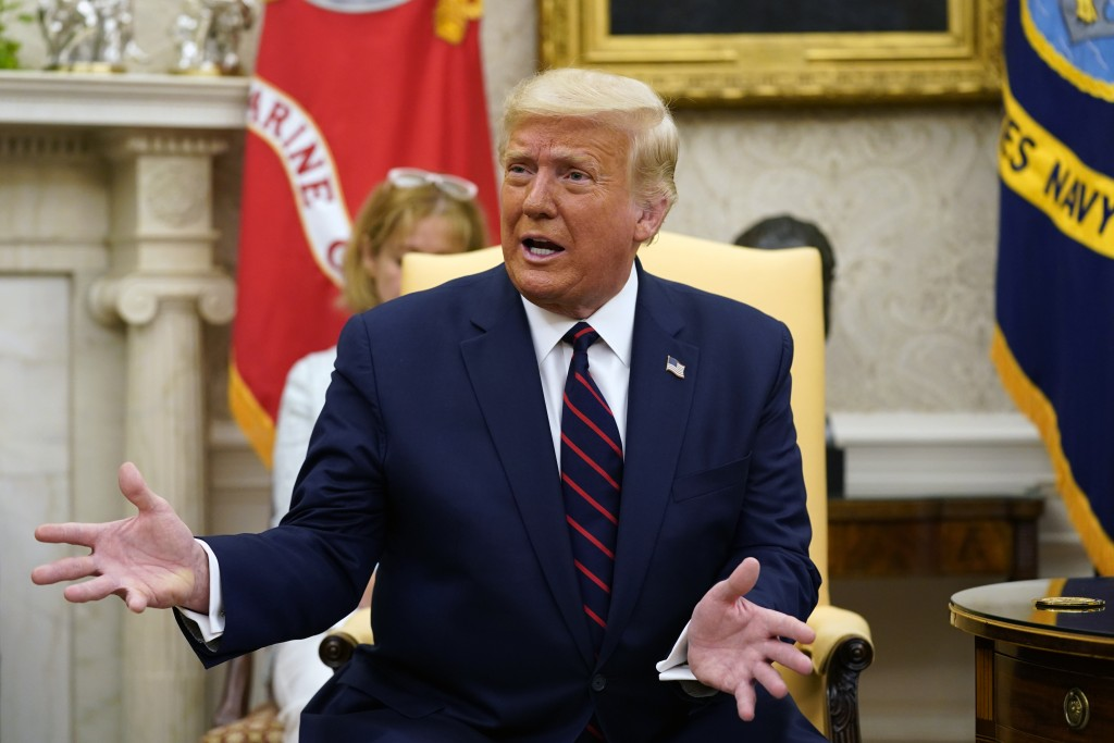 President Donald Trump speaks as he meets with Iraqi Prime Minister Mustafa al-Kadhimi in the Oval Office of the White House, Thursday, Aug. 20, 2020,...