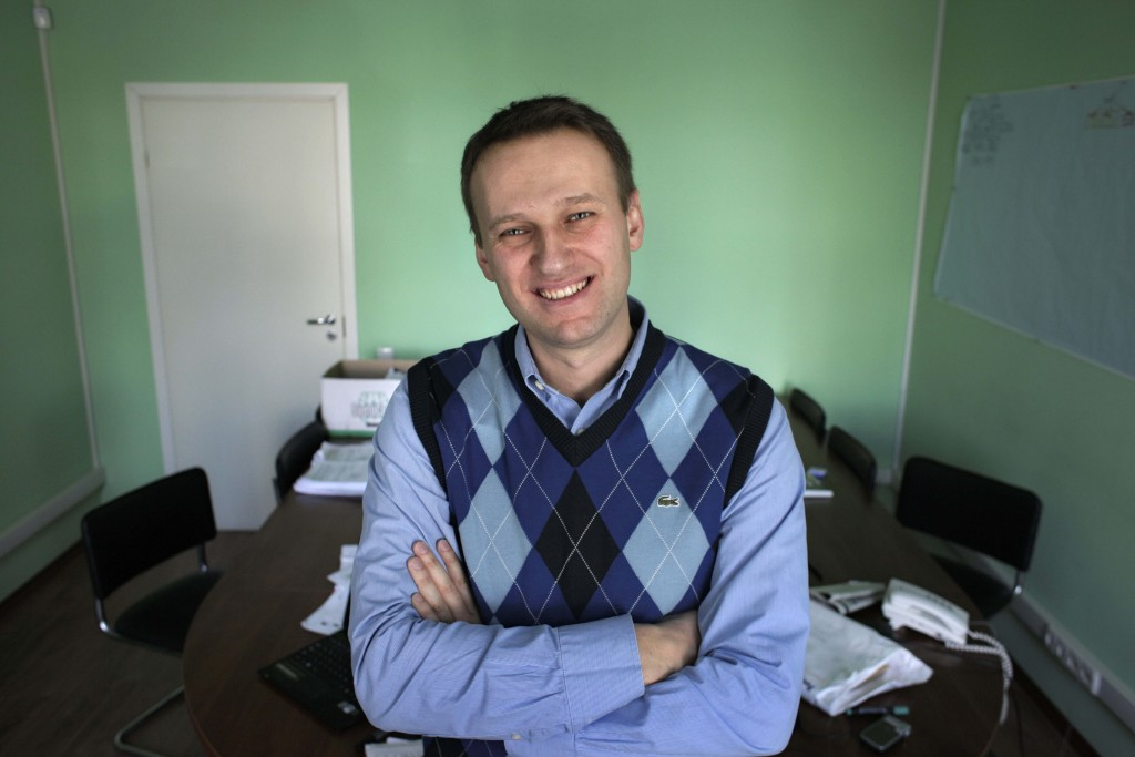 FILE - In this file photo taken on Wednesday, March 17, 2010, corporate Russian lawyer Alexei Navalny poses in his office in Moscow, Russia. (AP Photo...