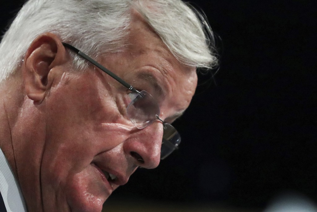 European Union chief Brexit negotiator Michel Barnier speaks during a media conference after Brexit trade talks between the EU and the UK, in Brussels...