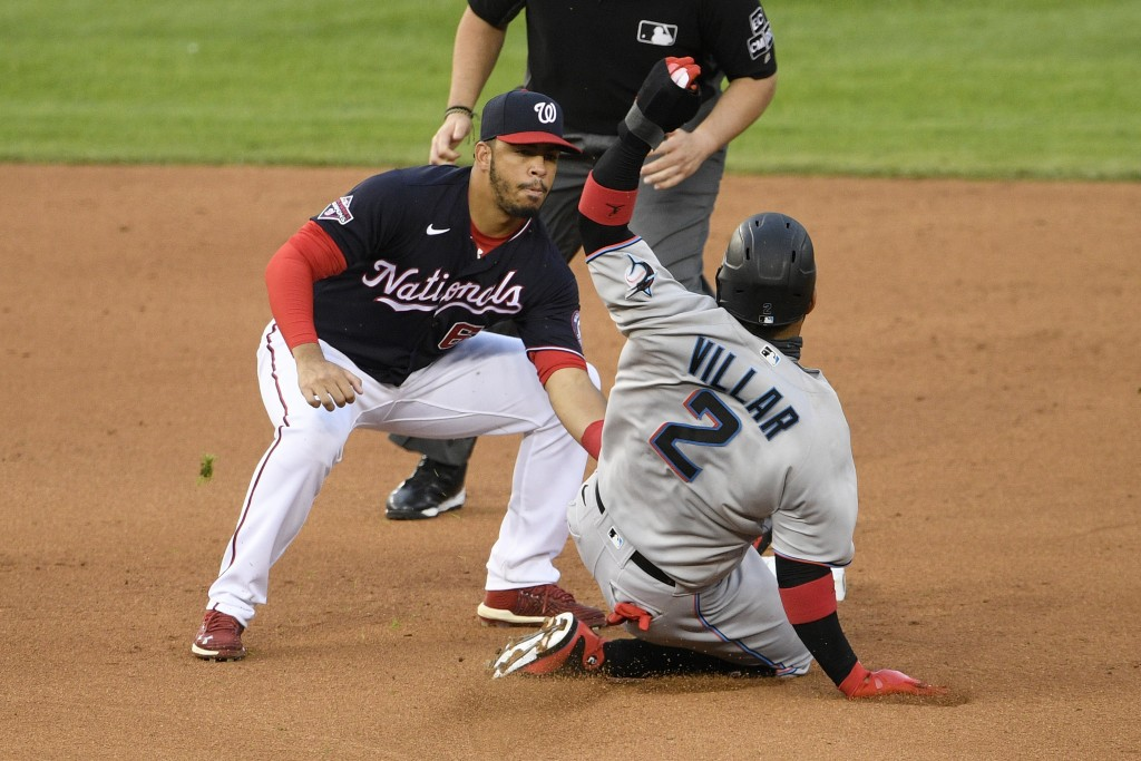 Miami Marlins' Jonathan Villar (2) is tagged out trying to steal second against Washington Nationals second baseman Luis Garcia, left, during the fift...