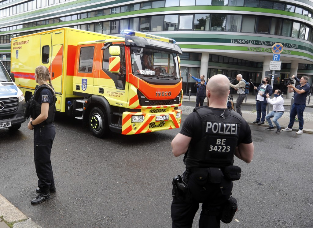 An ambulance which is believed to transport Alexei Navalny arrives at the Charite hospital in Berlin, Germany, Saturday, Aug.22, 2020. The dissident w...
