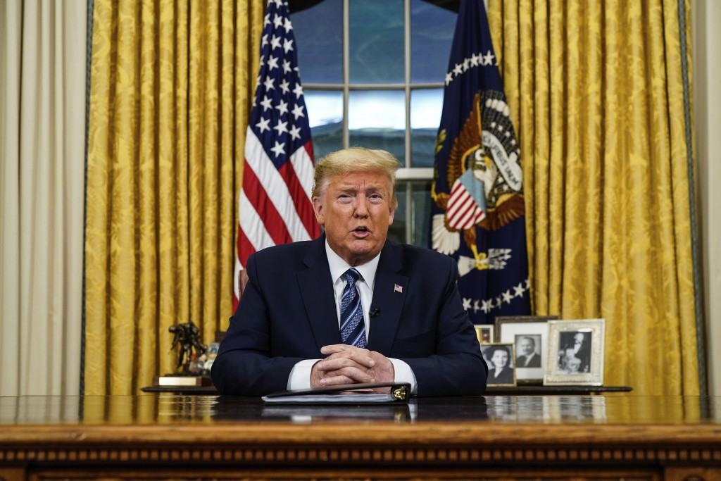 FILE - In this March 11, 2020, file photo President Donald Trump speaks in an address to the nation from the Oval Office at the White House about the ...
