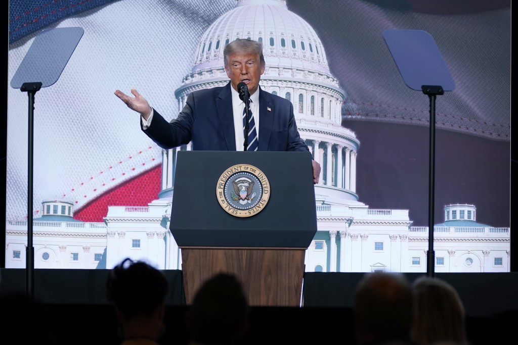 President Donald Trump speaks to the 2020 Council for National Policy Meeting, Friday, Aug. 21, 2020, in Arlington, Va. (AP Photo/Evan Vucci)