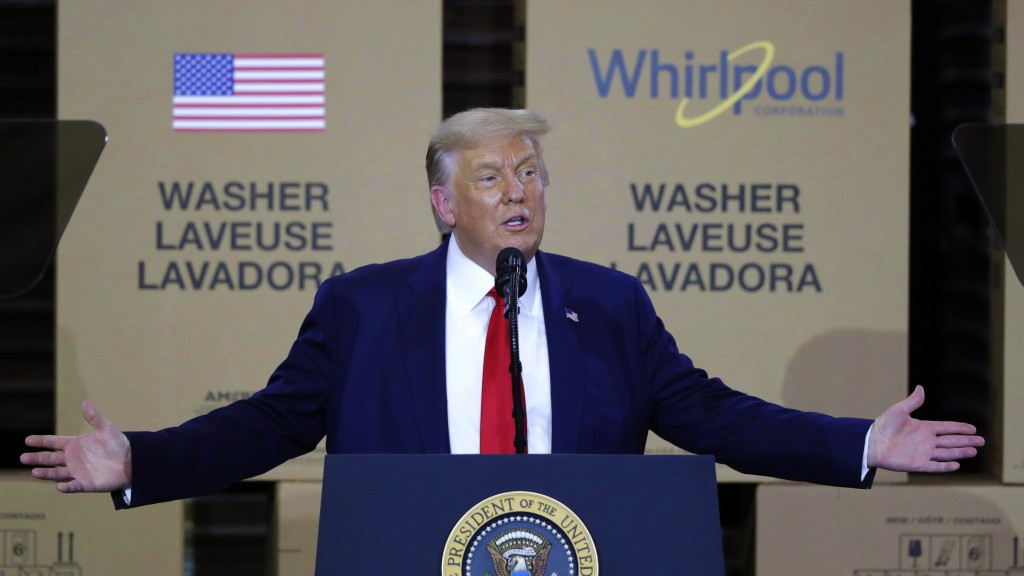 FILE - In this Aug. 6, 2020, file photo, President Donald Trump speaks during an event at the Whirlpool Corporation Manufacturing Plant in Clyde, Ohio...