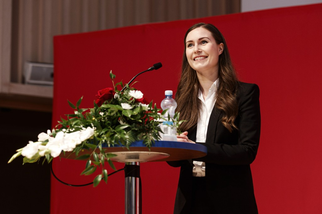 Finnish Prime Minister and newly elected Chair of The Social Democratic Party (SDP) of Finland, Sanna Marin speaks at the 46th Social Democratic conve...