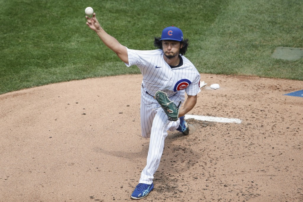 Chicago Cubs starting pitcher Yu Darvish delivers against the Chicago White Sox during the second inning of a baseball game, Sunday, Aug. 23, 2020, in...