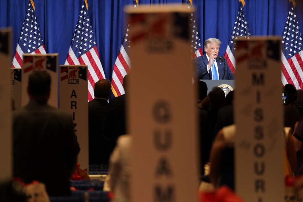 President Donald Trump speak at the 2020 Republican National Convention in Charlotte, N.C., Monday, Aug. 24, 2020. (AP Photo/Andrew Harnik)