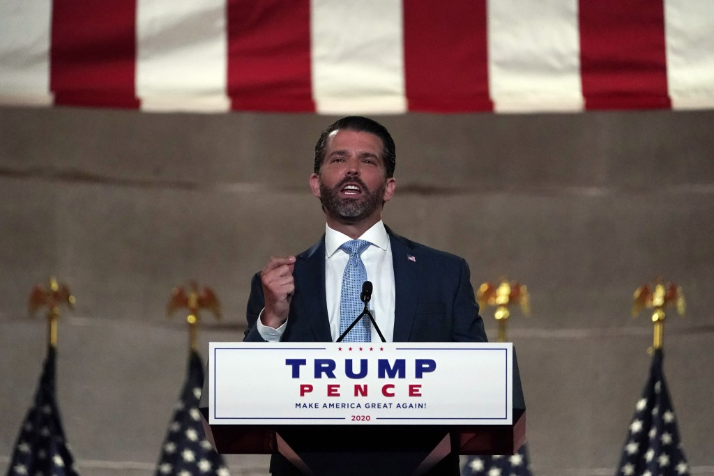 Donald Trump Jr., speaks as he tapes his speech for the first day of the Republican National Convention from the Andrew W. Mellon Auditorium in Washin...