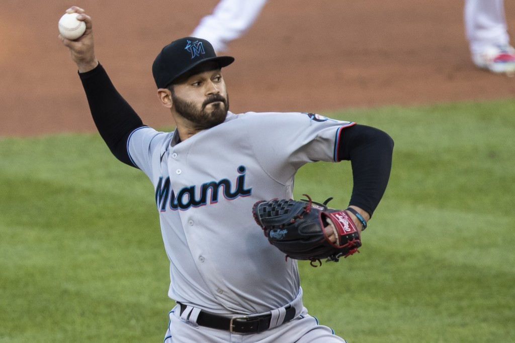 Miami Marlins starting pitcher Pablo Lopez throws during the first inning of a baseball game against the Washington Nationals in Washington, Monday, A...
