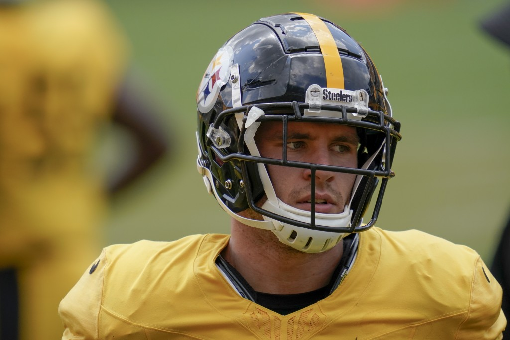 Pittsburgh Steelers linebacker T.J. Watt (90) goes through drills during an NFL football training camp practice, Monday, Aug. 24, 2020, in Pittsburgh....