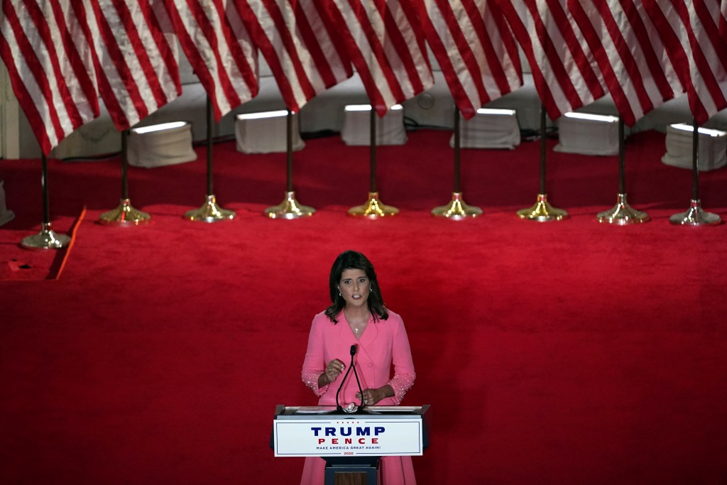 Former U.N. Ambassador Nikki Haley speaks during the Republican National Convention from the Andrew W. Mellon Auditorium in Washington, Monday, Aug. 2...