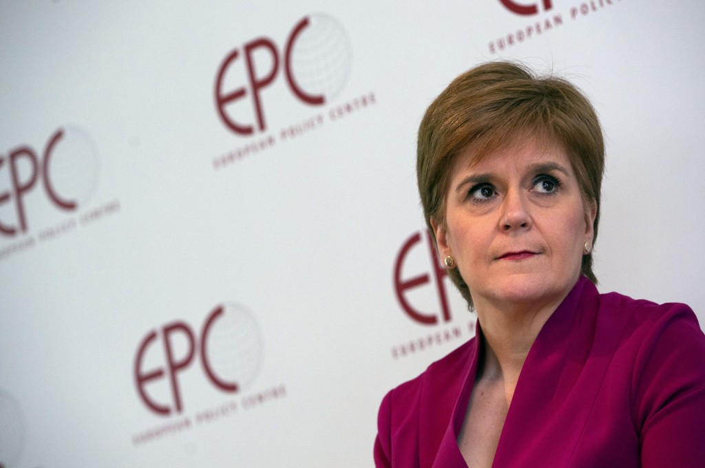 FILE - In this Feb. 10, 2020, file photo, Scotland's First Minister Nicola Sturgeon speaks during an event 'Scotland's European Future after Brexit' a...