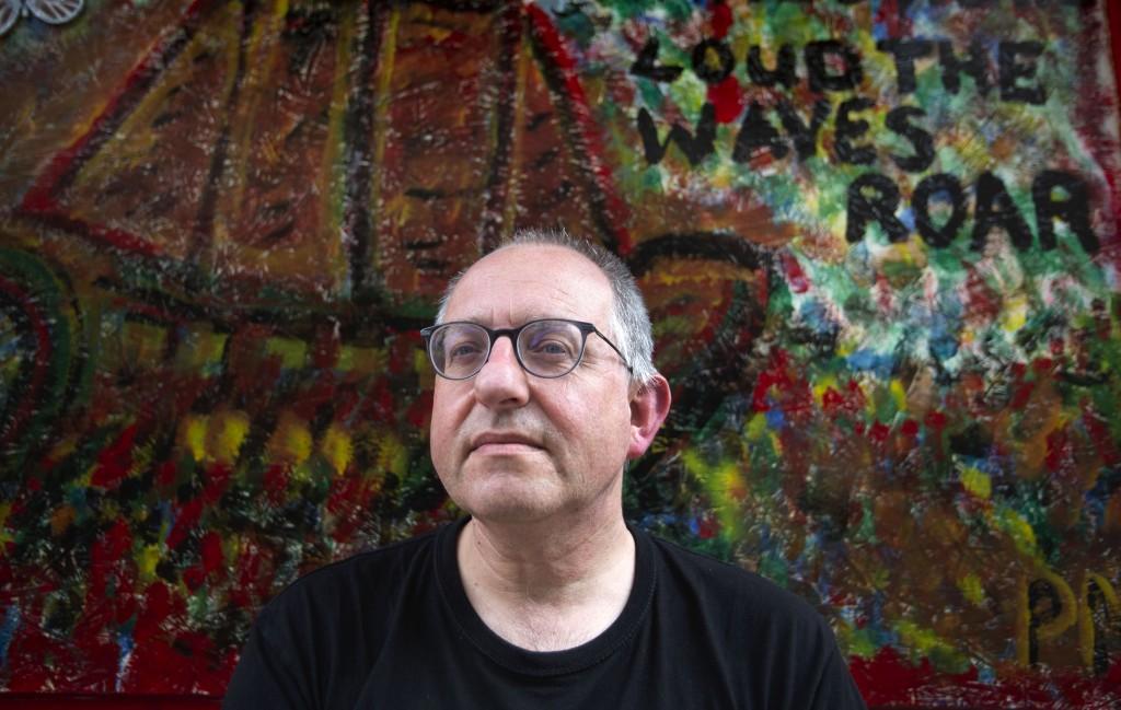Scottish Independence activist Gerry Mulvenna sits outside a pub in Edinburgh, Scotland, on Friday, Aug, 21, 2020. The handling of the coronavirus pan...