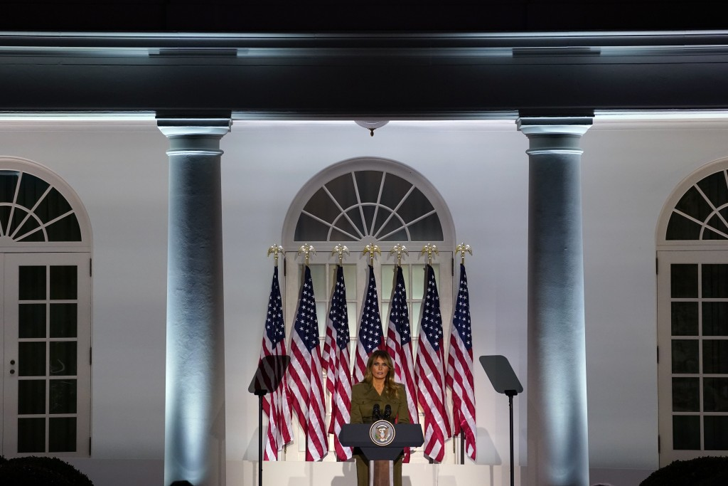 First lady Melania Trump speaks on the second day of the Republican National Convention from the Rose Garden of the White House, Tuesday, Aug. 25, 202...
