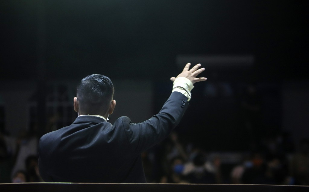 Pastor Roberto Sanchez leads a service at Bethel evangelical church in Managua, Nicaragua, Wednesday, Aug. 12, 2020. The congregation knows the pandem...