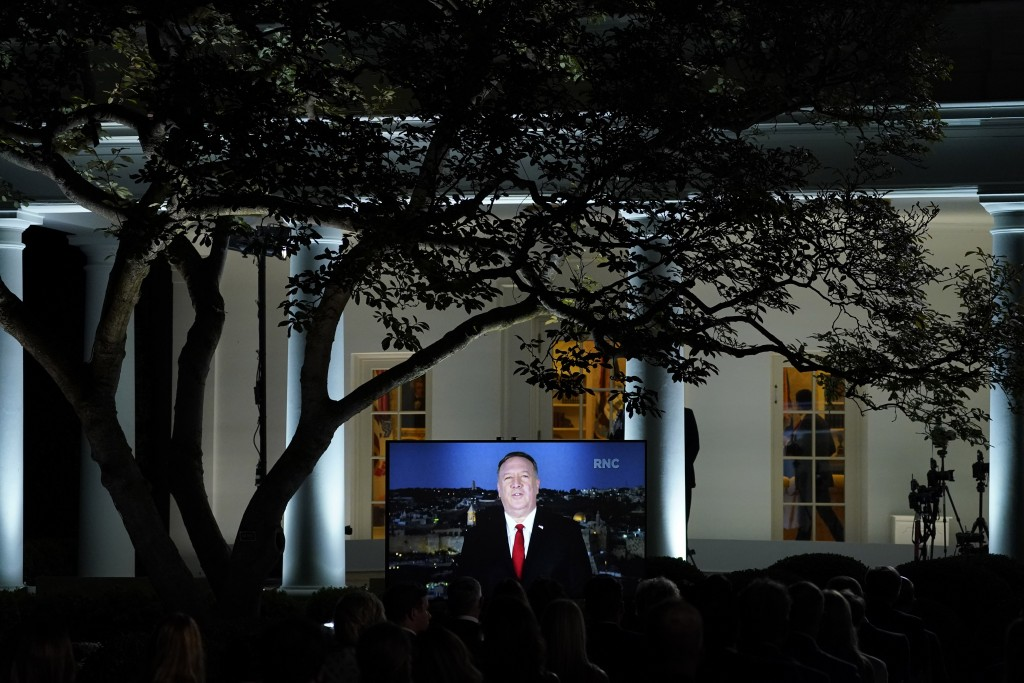 A video of Secretary of State Mike Pompeo speaking during the Republican National Convention plays from the Rose Garden of the White House, Tuesday, A...