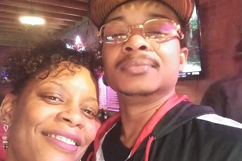 FILE - In this September 2019 file selfie photo taken in Evanston, Ill., Adria-Joi Watkins poses with her second cousin Jacob Blake. He is recovering ...