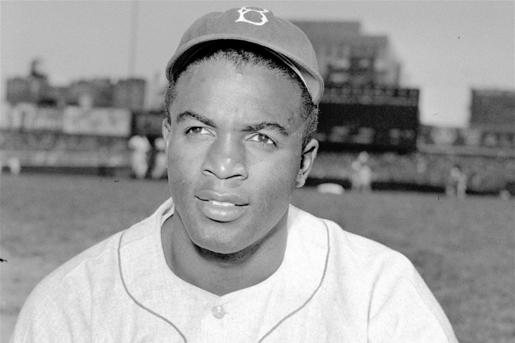 FILE - This is an April 18, 1948, portrait of Brooklyn Dodgers baseball player Jackie Robinson. It's Jackie Robinson Day across the big leagues on Fri...