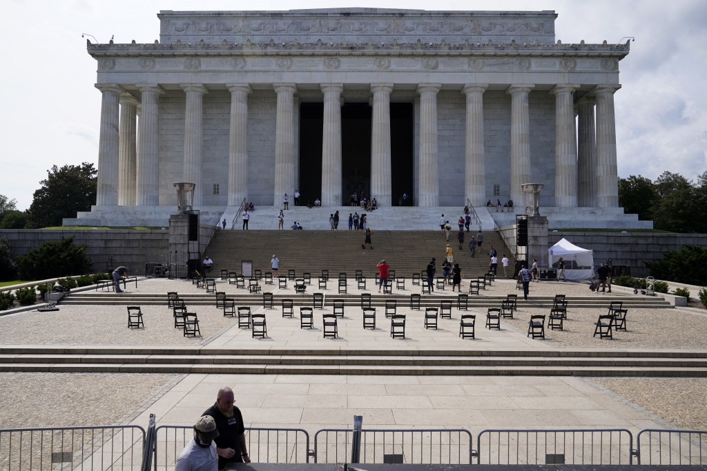 Chairs are set up near the Lincoln Memorial on Thursday Aug. 27, 2020, in Washington, prior to the March on Washington, which is being held on Friday ...