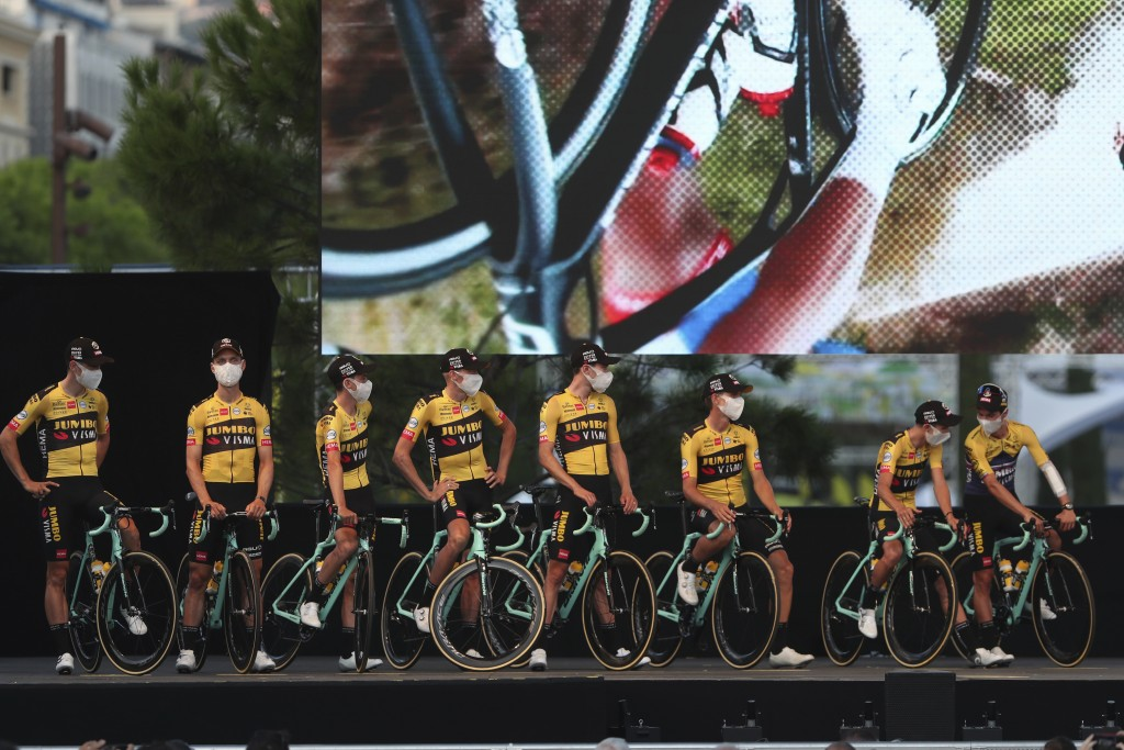 Team Jumbo - Visma riders poses during the 107th Tour de France cycling race team presentation, in Nice, southern France, Thursday, Aug. 27, 2020 ahea...