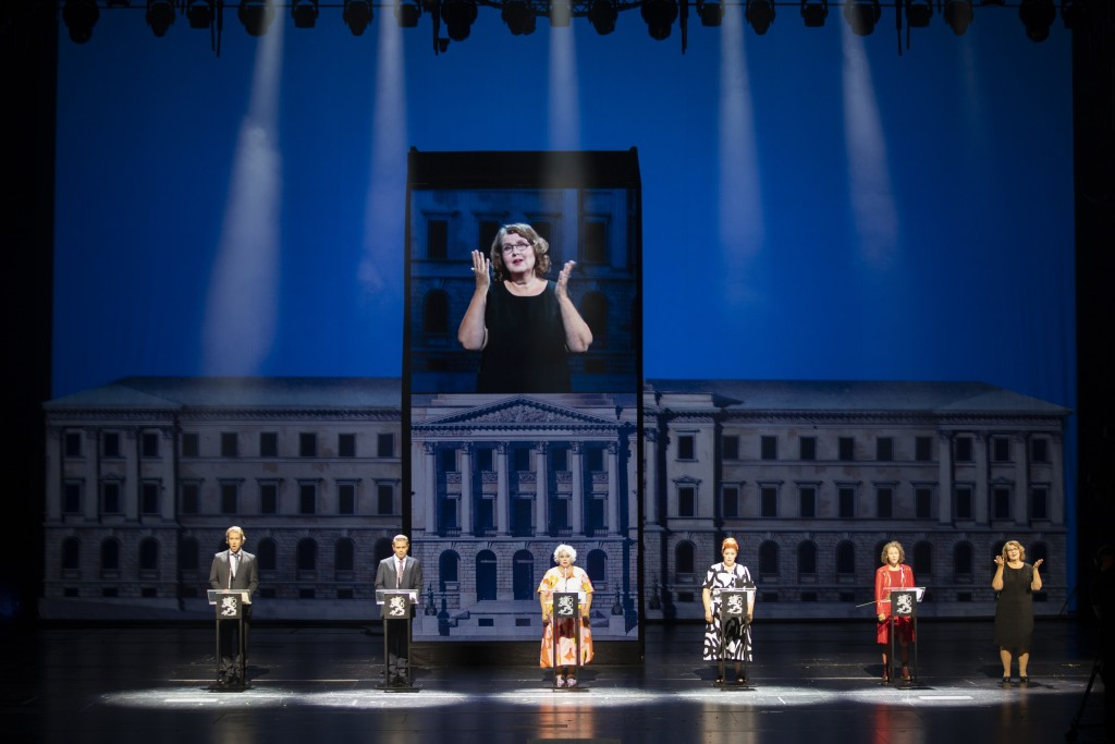 "Singers at the Finnish National Opera rehearse  ""Covid fan tutti,"" a satirical take on a famed opera by Wolfgang Amadeus Mozart but with an adapted co..."