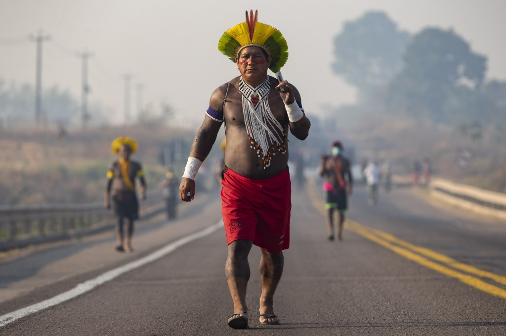 Kayapo Indigenous block a highway near Novo Progresso, Para state, Brazil, Monday, Aug. 17, 2020. Protesters blocked BR-163 to pressure Brazilian Pres...
