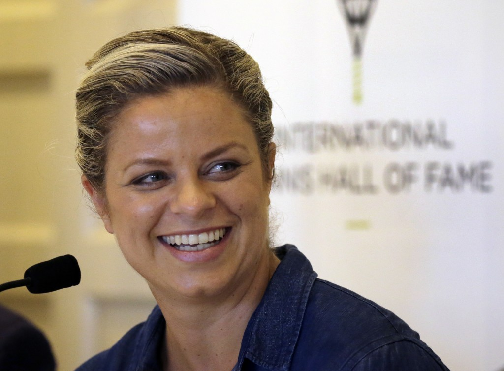 FILE - In this July 22, 2017, file photo, tennis Hall of Fame inductee Kim Clijsters of Belgium smiles during a news conference before enshrinement ce...