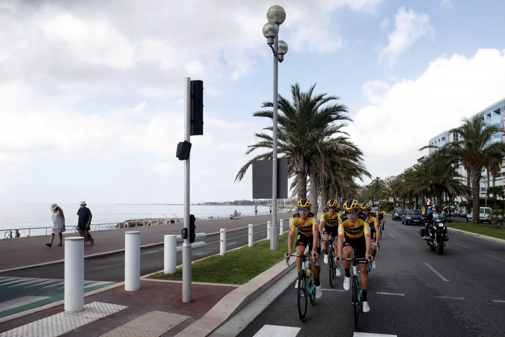 Team Jumbo - Visma riders pedal during a training session along the beach of the Promenade des Anglais in Nice, southern France, ahead of upcoming Sat...