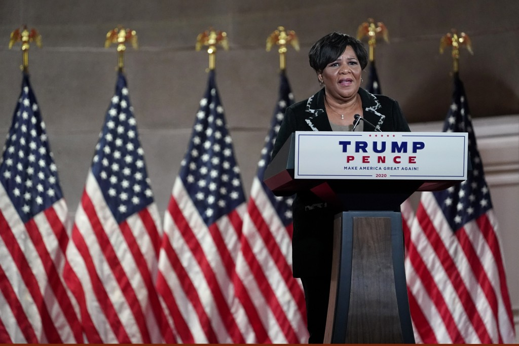Alice Johnson, who was pardoned by President Donald Trump, tapes her speech for the fourth day of the Republican National Convention from the Andrew W...