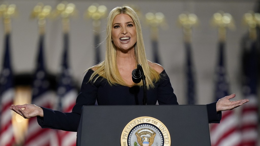 Ivanka Trump speaks to introduce President Donald Trump from the South Lawn of the White House on the fourth day of the Republican National Convention...
